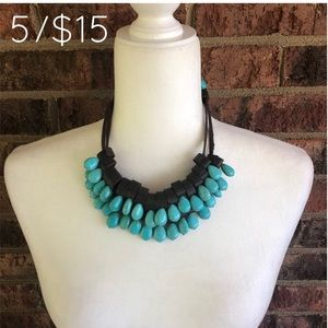 Jewelry - 5/$15 Teal Beaded Brown Faux Leather Necklace